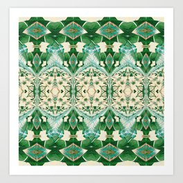 Boujee Boho Green Lace Geometric Art Print
