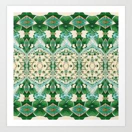 Boujee Boho Green Lace Geometric Art Print