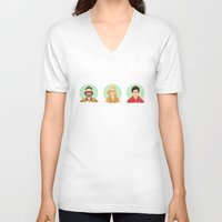the royal tenenbaums V-neck T-shirts featuring The Tenenbaums by Galaxyspeaking