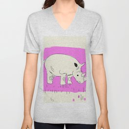 Friendly little Rhino Unisex V-Neck