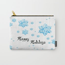 Snow Falling at Christmas Holiday in Blue Ice Carry-All Pouch