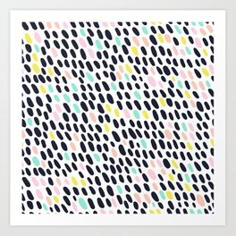 ABSTRACT PASTEL CONTRAST POLKA DOT BRUSH STROKE PATTERN Art Print
