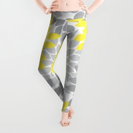 Yellow Gray Flower Burst Petals Floral Pattern Leggings