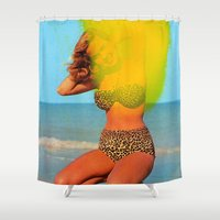 bikini Shower Curtains featuring Untitled (Bikini) by Charles Wilkin