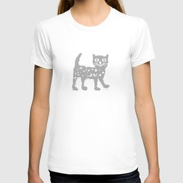 Gray cat pattern T-shirt
