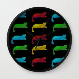 Cats - Pop Art Style on black background Wall Clock