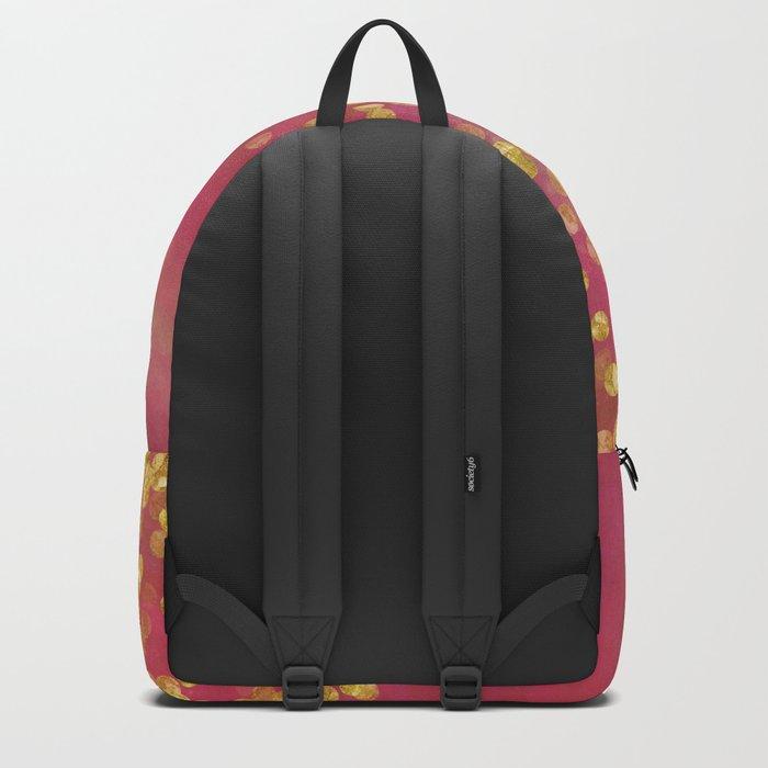 Golden Sparkles on Red Backpack