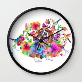 Puppy smile in flowers Wall Clock