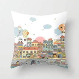 79 Cats in Harbor City Throw Pillow