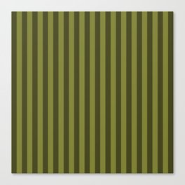 Olive Green Stripes Pattern Canvas Print