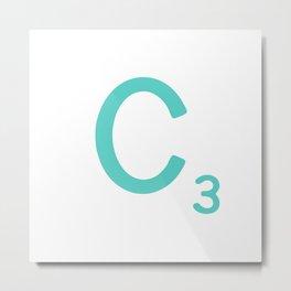 Blue Scrabble Tile Letter C Metal Print