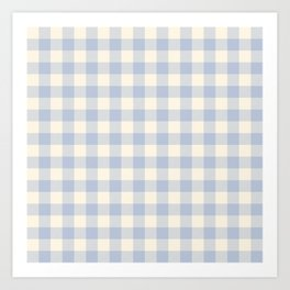 PASTEL GINGHAM 03, lavender blue squares Art Print