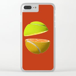 Orange tennis ball Clear iPhone Case