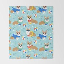 Corgi dog pool party summer beach ball design Throw Blanket
