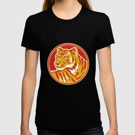 Tiger Prowling Head Circle Retro T-shirt