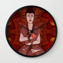 Meditation New Age Mixed Media Wall Clock