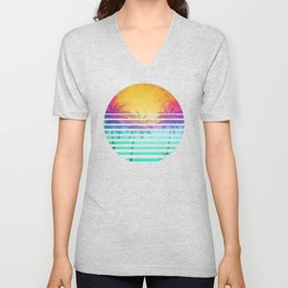 Vintage Retro 80's Synthwave Sunset Palms Unisex V-Neck