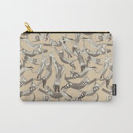 cat party beige natural Carry-All Pouch