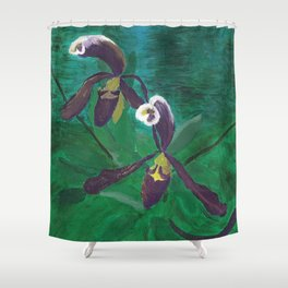 Royal Slippers: Orchid Series Shower Curtain