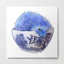 Hedgehog Hotub #2 Blue Willow Metal Print