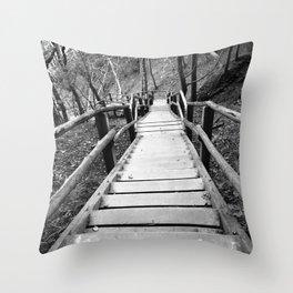 wooden staircase Throw Pillow