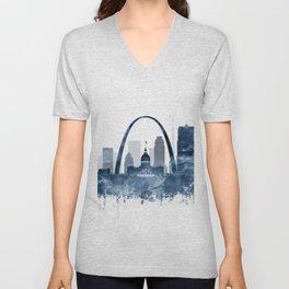 St Louis City Skyline Watercolor Blue by zouzounioart Unisex V-Neck