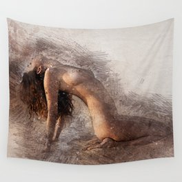 Naked Yoga on the Beach Wall Tapestry
