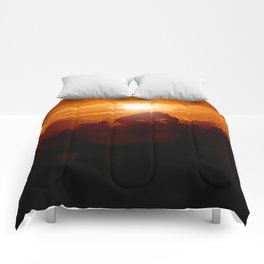 Sunset on the wild forest in the Andes Mountains Comforters