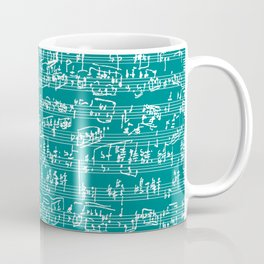 Hand Written Sheet Music // Teal Coffee Mug