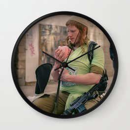 A Soldier & His Baby Wall Clock