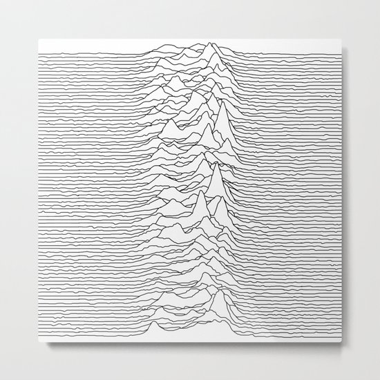 Unknown Pleasures - White Metal Print