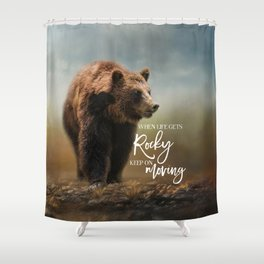 Grizzly On The Rocks Shower Curtain
