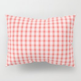 Coral Gingham Pillow Sham