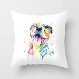 Pit Bull, Pitbull Watercolor Painting - The Softer Side Throw Pillow