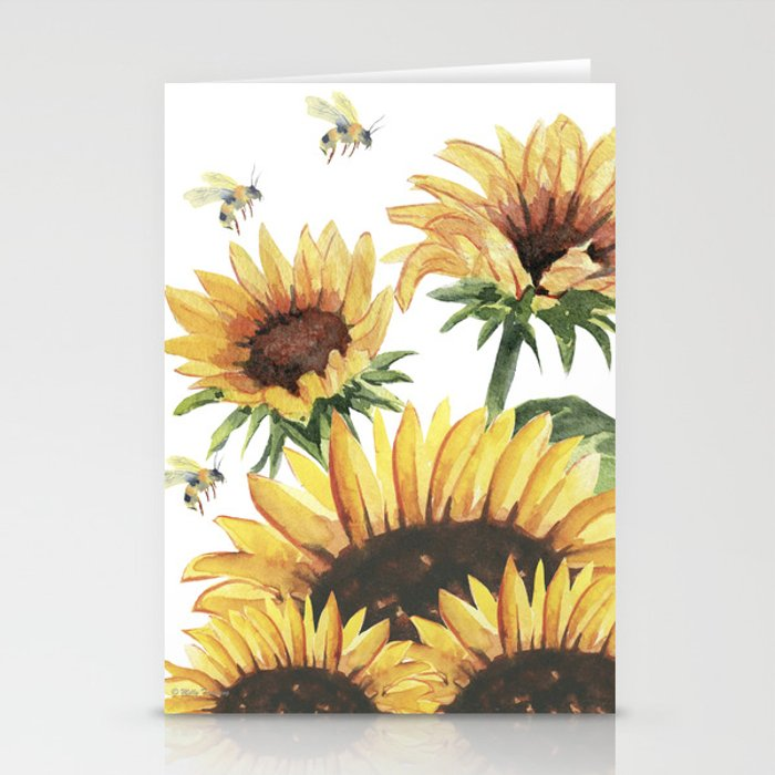 Sunflowers and Honey Bees Stationery Cards