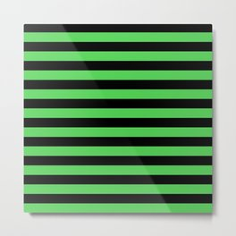 Stripes (Black & Green Pattern) Metal Print