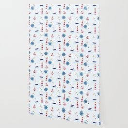 Nautical Pattern (Marine Pattern) - Blue Red White Wallpaper