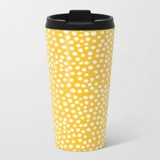 DOT PATTERN - yellow and white Metal Travel Mug