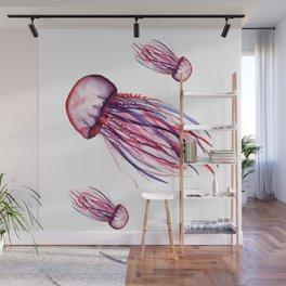 Pink Jellyfish Wall Mural
