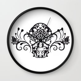 SKULL FLOWER 04 Wall Clock