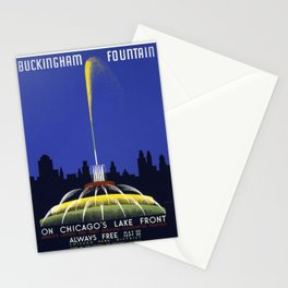 Buckingham Fountain on Chicago's Lake Front, Federal Art Project Vintage WPA Poster Stationery Cards
