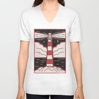 lighthouse V-neck T-shirts featuring Lighthouse by Andy Rogerson