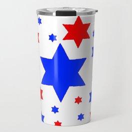 4TH RED & WHITE & BLUE STARS  DESIGN Travel Mug