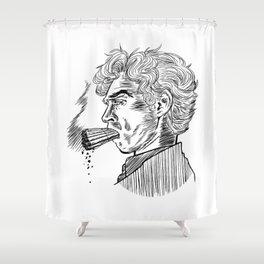 London Smoking Habit (Lineart) Shower Curtain