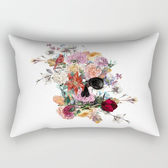 Skull and Flowers II Rectangular Pillow