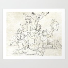 Dungeons and Dragons Group Art Print