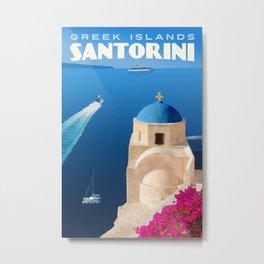 Santorini Travel Poster Metal Print