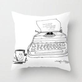 Earnest Hemingway Writing on Typewriter Throw Pillow