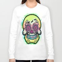 calavera Long Sleeve T-shirts featuring calavera cats by grapeloverarts