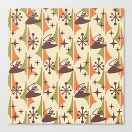 Mid Century Modern Cosmic Boomerang 726 Brown Orange and Green Canvas Print